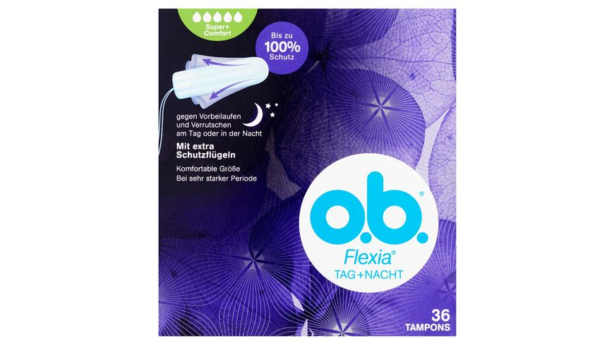 o b Tampons Flexia Tag Nacht Super Plus 36 Stueck