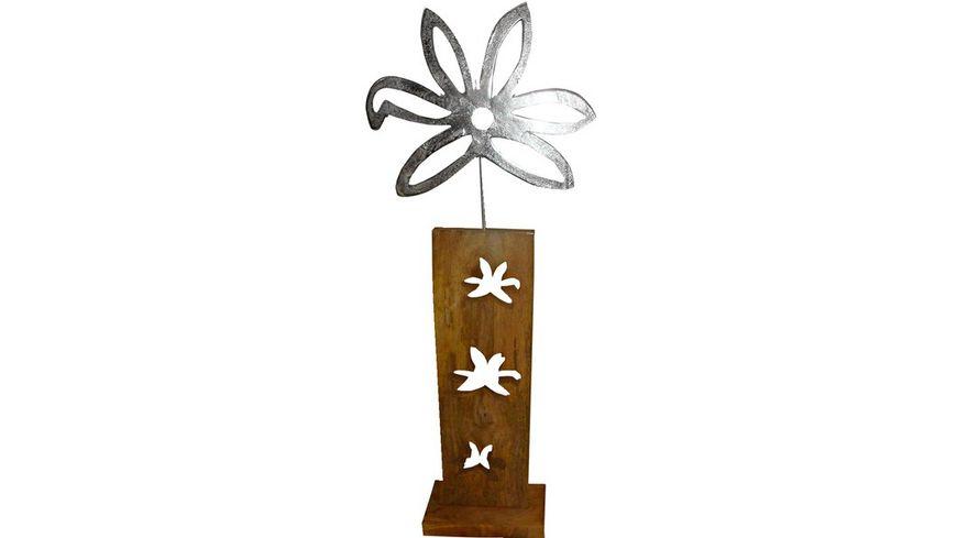 Metall Blume auf Holz Fuss