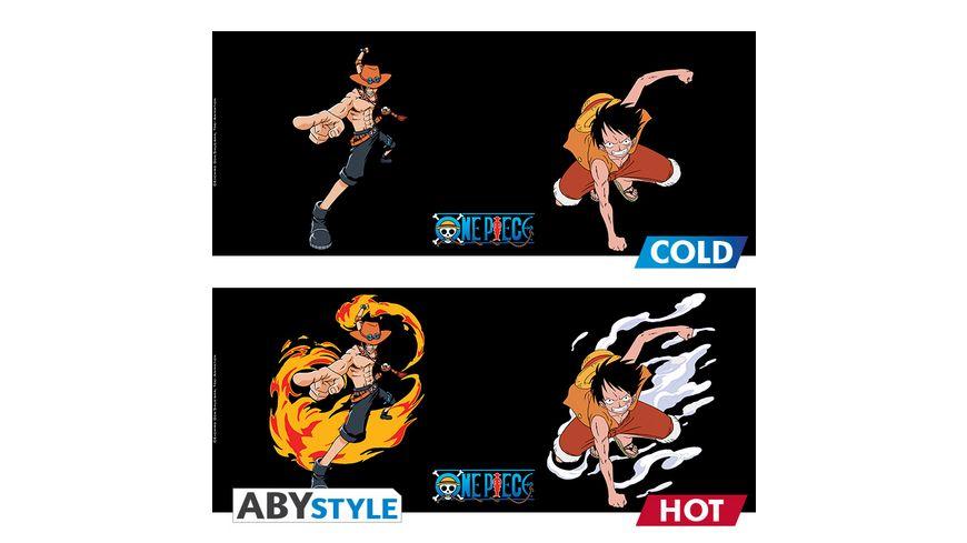 One Piece Luffy Ace Thermoeffekt Tasse