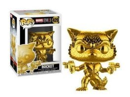 Funko POP Marvel Rocket Raccoon Gold Chrome Bobble Head Figur