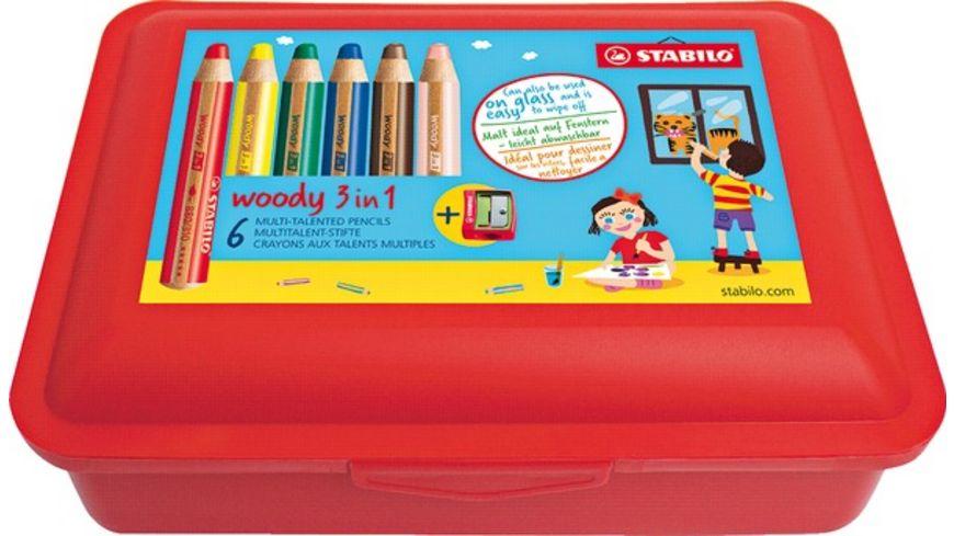 STABILO Multitalentstift Woody 3 in 1 6er Box mit Spitzer