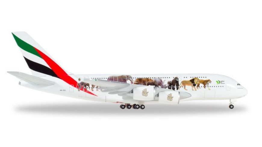 Herpa 531764 Wings Emirates Airbus A380 United for Wildlife