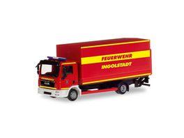 Herpa 094221 MAN TGL Planen LKW mit Ladebordwand Feuerwehr Ingolstadt
