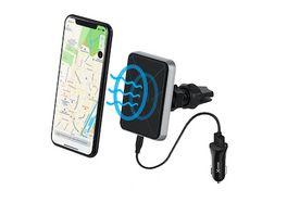 Kfz Ladegeraet magfix Wireless Charging Magnethalterung Qi zertifiziert Kfz Starterkit Black