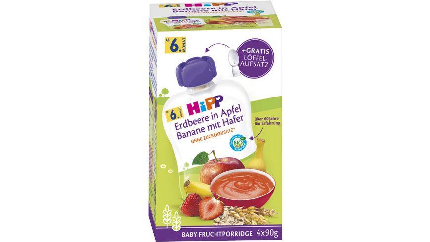 HiPP Bio Frucht-Porridge Erdbeeren in Apfel-Banane mit Hafer