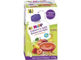 HiPP Baby Frucht Porridge im Quetschbeutel 4x90g Erdbeere in Apfel Banane mit Hafer ohne Zuckerzusatz