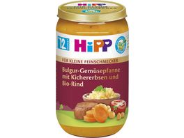 HiPP Menues fuer kleine Feinschmecker 250g Bulgur Gemuesepfanne mit Kichererbsen und Bio Rind ab 12 Monat