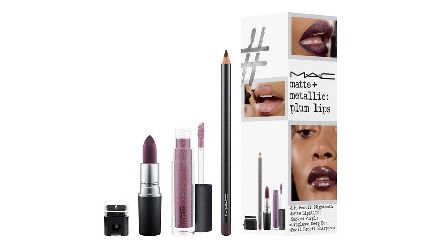 MAC Lipstick Matte Metallic Plum Lips Set