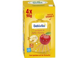 Bebivita Kinder Spass Frucht und Getreide Vollkorn in Apfel Banane 4x90g