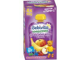 Bebivita Kinder Spass 4x90g Banane Heidelbeere in Apfel ohne Zuckerzusatz geeignet ab 1 Jahr