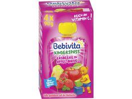 Bebivita Kinder Spass 4x90g im Quetschbeutel Erdbeere in Apfel Birne ohne Zuckerzusatz geeignet ab 1 Jahr