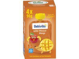 Bebivita Kinder Spass 4x90g im Quetschbeutel Apfel Pfirsich Mango ohne Zuckerzusatz geeignet ab 1 Jahr