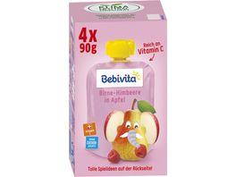 Bebivta Kinderspass 4x90g Birne Himbeere in Apfel geeignet ab 1 Jahr ohne Zuckerzusatz