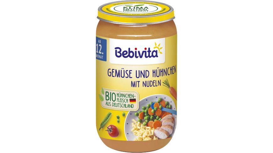 Bebivita Menues ab dem 12 Monat Gemuese und Huehnchen mit Nudeln