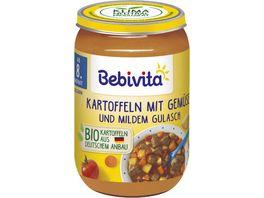 Bebvita Babyglaeschen Brei Kartoffeln mit Gemuese und Gulasch ab dem 8 Monat
