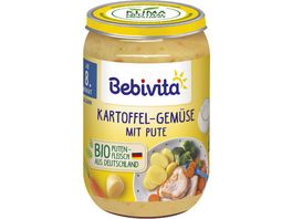Bebivita Babyglaeschen Brei Kartoffel Gemuese mit Pute ab dem 8 Monat