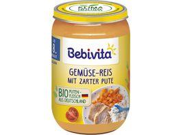 Bebivita Babyglaeschen Brei Gemuese Reis mit zarter Pute ab dem 8 Monat