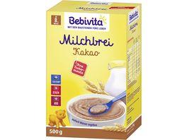 Bebivita Milchbreie ohne Zuckerzusatz Milchbrei Kakao Grosspackung 500 g