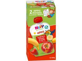 HiPP HiPPis im Quetschbeutel 4x100g Erdbeere Banane in Apfel ab 1 ohne Zusatz von Zucker Zutaten enthalten von Natur aus Zucker