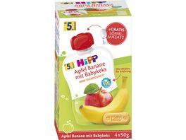 HiPP Bio Frucht und Getreide im Quetschbeutel fuer Baby Apfel Banane mit Babykeks 4x90g