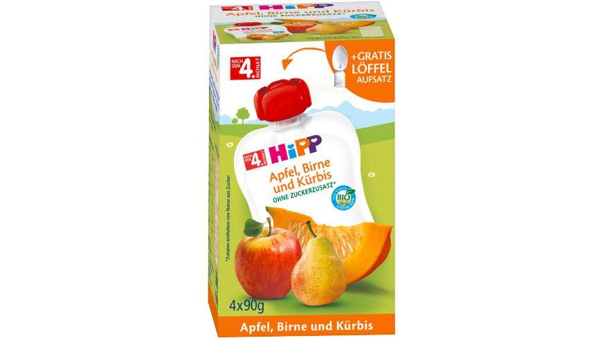 HiPP Frucht und Gemüse im Quetschbeutel 4x90g: Apfel, Birne und Kürbis, ohne Zuckerzusatz, nach dem 4. Monat