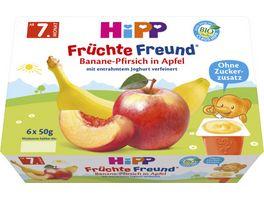 HiPP Feine Fruechte 6x50g Banane Pfirsich in Apfel mit entrahmtem Joghurt verfeinert ab 7 Monat
