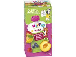 HiPP Bio HiPPiS im Quteschbeutel 4x100g Waldbeeren in Apfel Pfirsich