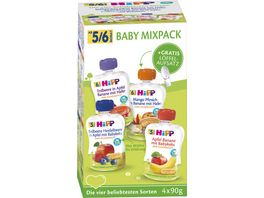 HiPP Bio Babyquetschbeutel MixPack 4x90g mit gratis Loeffelaufsatz