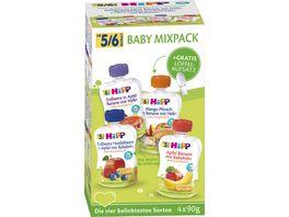 HiPP Bio Frucht und Getreide im Quetschbeutel fuer Baby Mixpack HiPP Babyquetschbeutel 4x90g