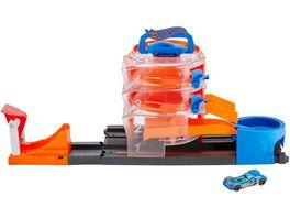 Hot Wheels Super Spin Parkhaus Parkgarage inkl 1 Spielzeugauto Autorennbahn