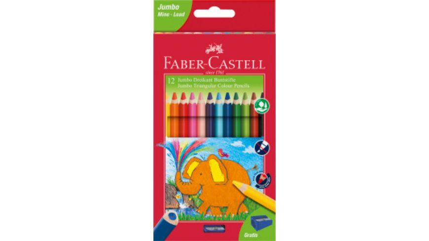 FABER-CASTELL Dreikant-Farbstift Jumbo 12er-Etui