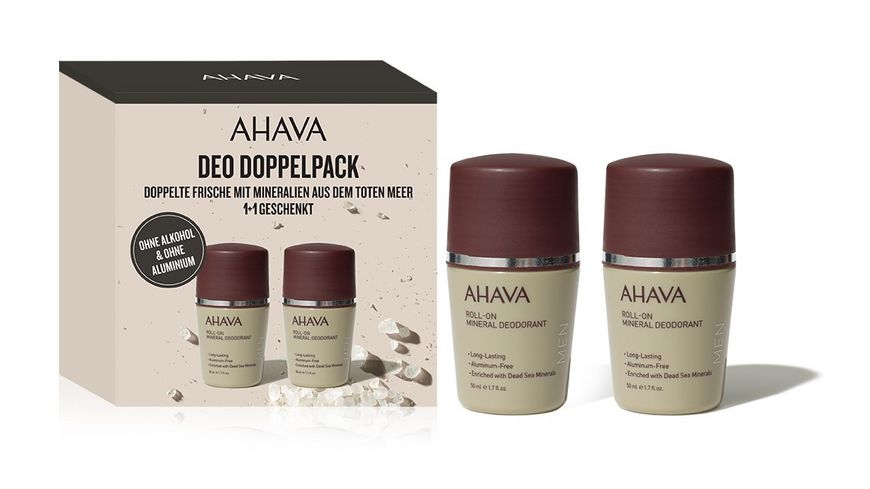 AHAVA Kit Mineral Deodorant Roll On for Men