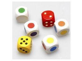 Weible Spiele Farbwuerfel aus Ahornholz weiss mit sechs Farben gepraegt 6 Stueck