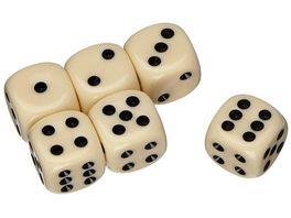 Weible Spiele Elfenbeinfarbige Wuerfel 18 mm 6 Stueck