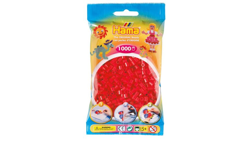 Hama - Bügelperlen im Beutel, ca 1000 Stück, rot