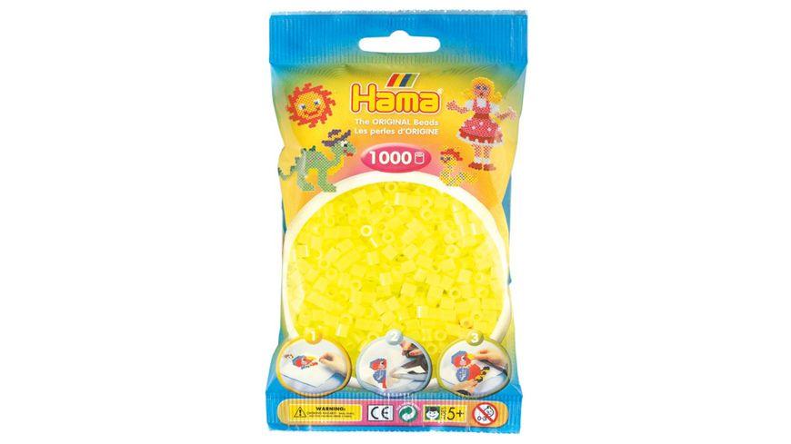 Hama Buegelperlen im Beutel ca 1000 Stueck neon gelb