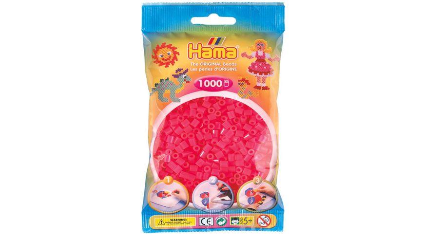 Hama Buegelperlen im Beutel ca 1000 Stueck neon pink