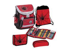 JOLLY BELMIL MINI Schulranzen Set 7teilig Spider rot schwarz