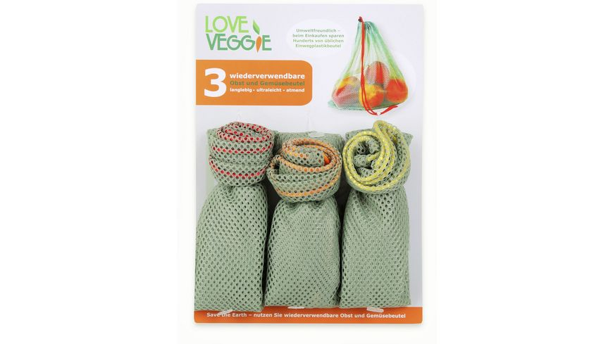 Love Veggie Obst und Gemuesebeutel 3er Set