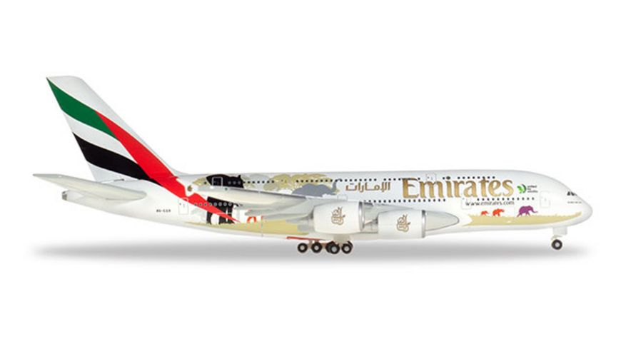 Herpa 532723 Wings Emirates Airbus A380 United for Wildlife No 2