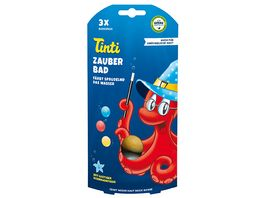 Tinti Zauberbad 3er Pack Badebaelle in Blau Rot und Gelb