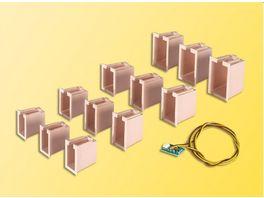 Viessmann Hausbeleuchtungs Startset 12 Boxen 4 verschiedene Groessen u 1 LED weiss