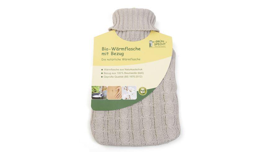 Gruenspecht Bio Waermflasche mit Bezug 2l
