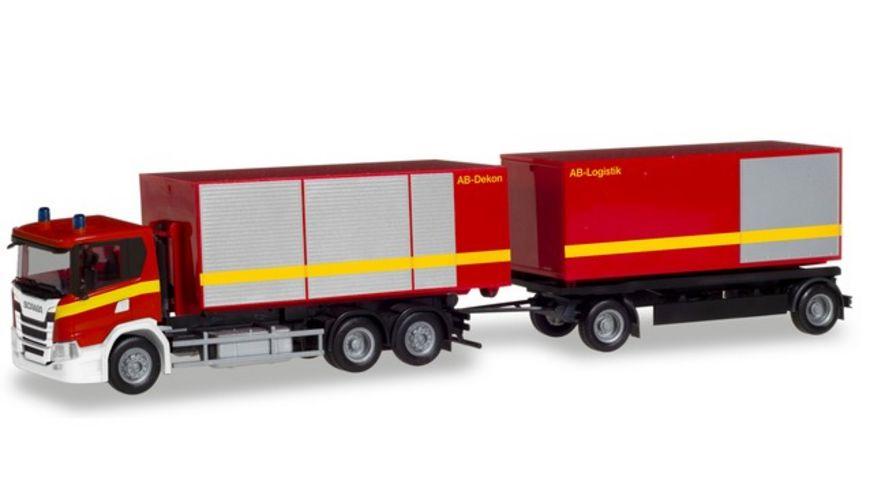Herpa 310017 Scania CG 17 Abrollcontainer Haengerzug Feuerwehr