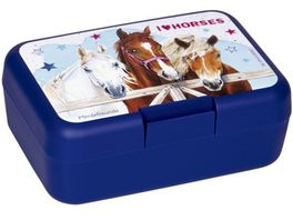 Die Spiegelburg Butterbrotdose Pferdefreunde blau