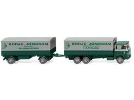 Wiking 0460 01 Pritschenhaengerzug Scania 111 Boerje Joensson 1 87