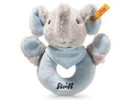 Steiff Trampili Elefant Greifring mit Rassel 12 cm blau