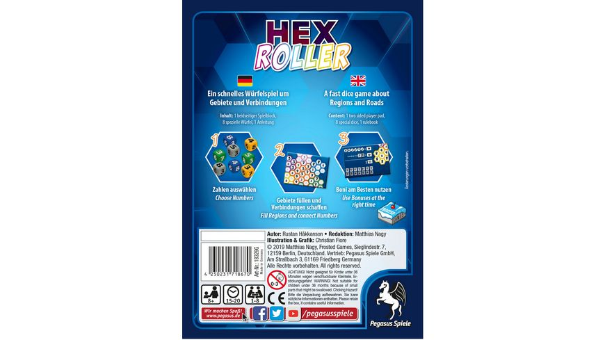 Pegasus HexRoller Frosted Games