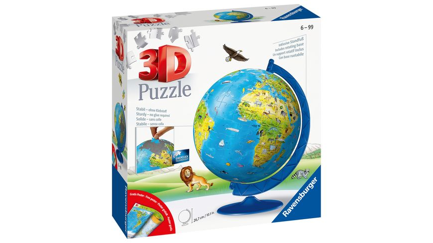 Ravensburger Puzzle 3D Puzzle Ball Kinderglobus in deutscher Sprache 180 Teile