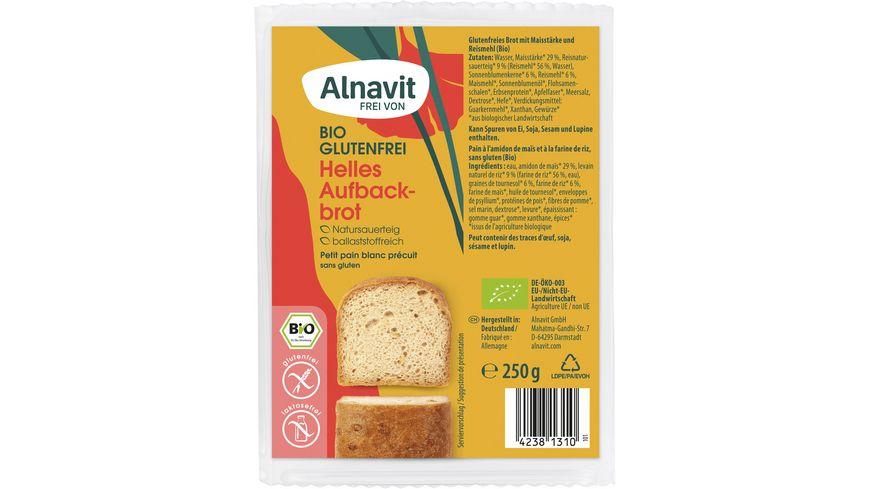 Alnavit Bio Mildes Aufbackbrot - glutenfrei